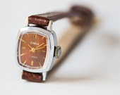 Small women's watch, brown silver watch simple, lady's wristwatch Dawn, tiny rectangular watch, gift her premium, leather strap new