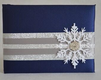 Winter wedding Guest book-Royal blue satin, snowflake, glitter, rhinestones