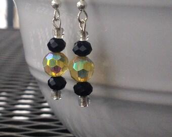 Sale Earrings, Yellow and Black, Summer Earrings, Clearance Sale