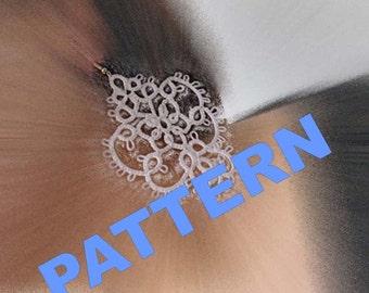 """Tatting pattern -Tatting earrings """"Snow """"- handmade jewelry - lace earrings - shuttle tatting - PDF pattern"""