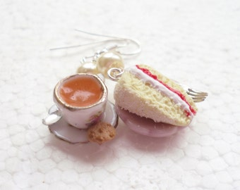 Tea And Cake Earrings. Polymer clay.