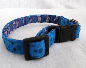 Cat Collar/ Blue Dots / Cotton 3/8 inch Small to Medium