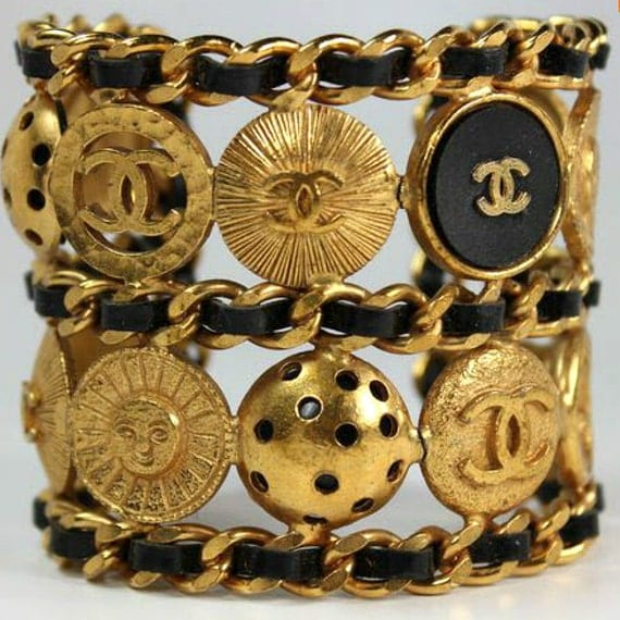 Antique Gold Charm Bracelet: Signed Chanel Vintage Gold Double Cuff Large Button Bracelet