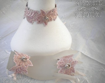 Sweetheart  - One of a Kind Luxury Collar and Cuffs Set With Crystals and Embroidery - Absolute Devotion
