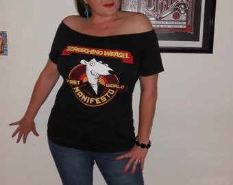 Screeching Weasel DIY Shirt is for SALE Queers NOFX Ramones Punk Rock Descendents Too Fast Rancid Minor Threat black flag off the shoulder