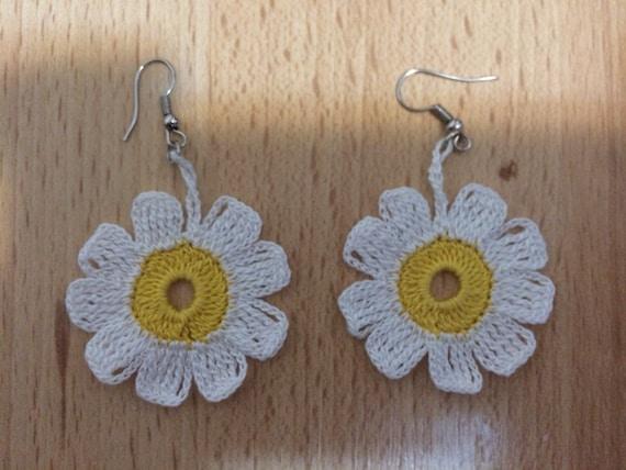 Crochet Jewelry Daisy Earrings, White  and yellow Earrings, Wedding Earrings