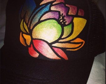 Keiki Black trucker with hand painted chakra lotus