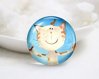 10mm 12mm 14mm 16mm 18mm 20mm 25mm 30mm Handmade Round Photo Glass Cabochons Cover-Cat (P1232)