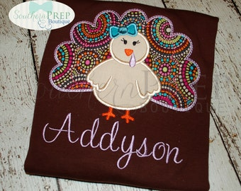 Turkey Applique Monogrammed Shirt - Girl's Thanksgiving shirt  - Fall shirt - Monogram