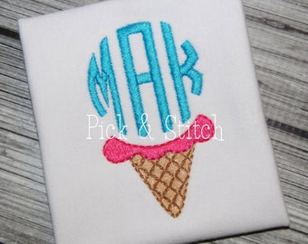 Girl's Ice Cream Cone Applique - Summer Shirt - Monogram - Girl's Summer Design