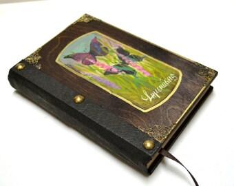 Art journal, bound journal, journal sketchbook, travel journal, leather notebook, butterfly book, upcycle notebook, butterfly journal