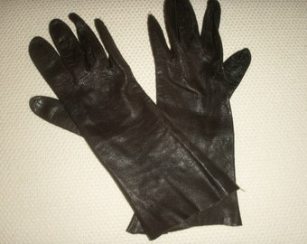 Dark Brown Italian Kid skin women's opera length gloves size 6 1/2, unlined in perfect condition, soft and supple, no marks or tears