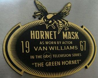 Custom 1967 GREEN HORNET Mask DISPLAY Name Plate Televison Series