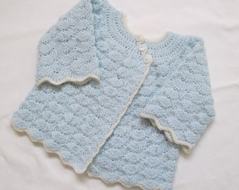 Baby Sweater Crochet Luxury Merino Wool 6M 12M Ice Blue Handmade