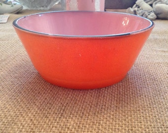 Vintage Fire King Orange Bowl With Dark Brown Trim