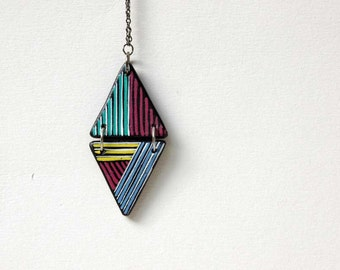 Long Triangle Necklace Geometric Necklace Color block
