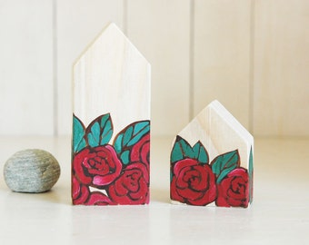 Hand painted wooden house, miniature house,little house,tiny house with hand painted red roses