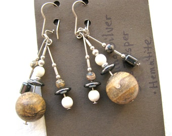 Vintage earrings with Picture Jasper number  18