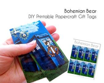 DIY Police Box Gift Tags, Printable PDF Instant Digital Download