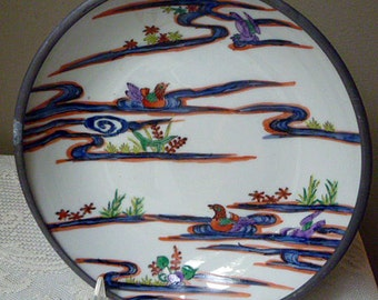 Vintage Asian Pewter and Porcelain Bowl with Ducks on a Pond