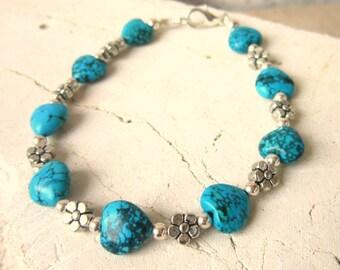 Genuine Turquoise Bracelet. Turquoise Heart Bracelet. Turquoise Jewelry. Southwest Jewelry. Valentines Gift for Turquoise Lover.Heart Lover