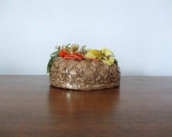 50% SALE . 1940s tilt hat . vintage 40s brown floral pillbox hat
