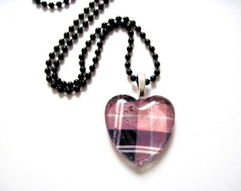 Pink Plaid Glass Heart Pendant