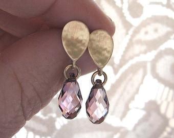 Gold teardrop earrings , Crystal stud earrings , gold drop dangle post earrings , Antique pink Swarovski drop studs , Handmade by Adi Yesod
