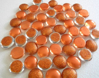 50 Glass Gems - Medium Size - Half Marbles/Glass Nuggets - Copper Glitter Mix - Mosaic Supplies/Candle/Floral Displays