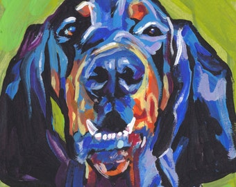 """Black and Tan Coonhound portrait PRINT of modern colorful pop dog art painting 12x12"""""""