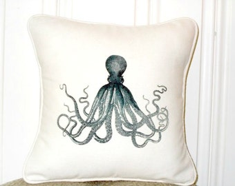 "shabby chic, feed sack, french country, octopus graphic with cream welting 14"" x 14"" pillow sham."