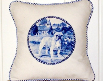 """shabby chic, feed sack, french country, delft French bulldog graphic with gingham  welting 14"""" x 14"""" pillow sham."""