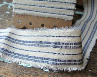 Vintage Hand Frayed Blue Ticking Ribbon Trim