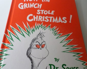 Vintage 80s Dr Seuss How The Grinch Stole Christmas Book 1985 Chidrens Book Hard Back