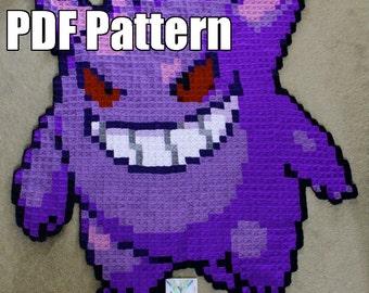 Gengar Crochet Blanket pattern