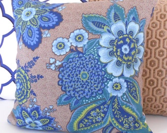 Blue, green and brown floral decorative pillow cover