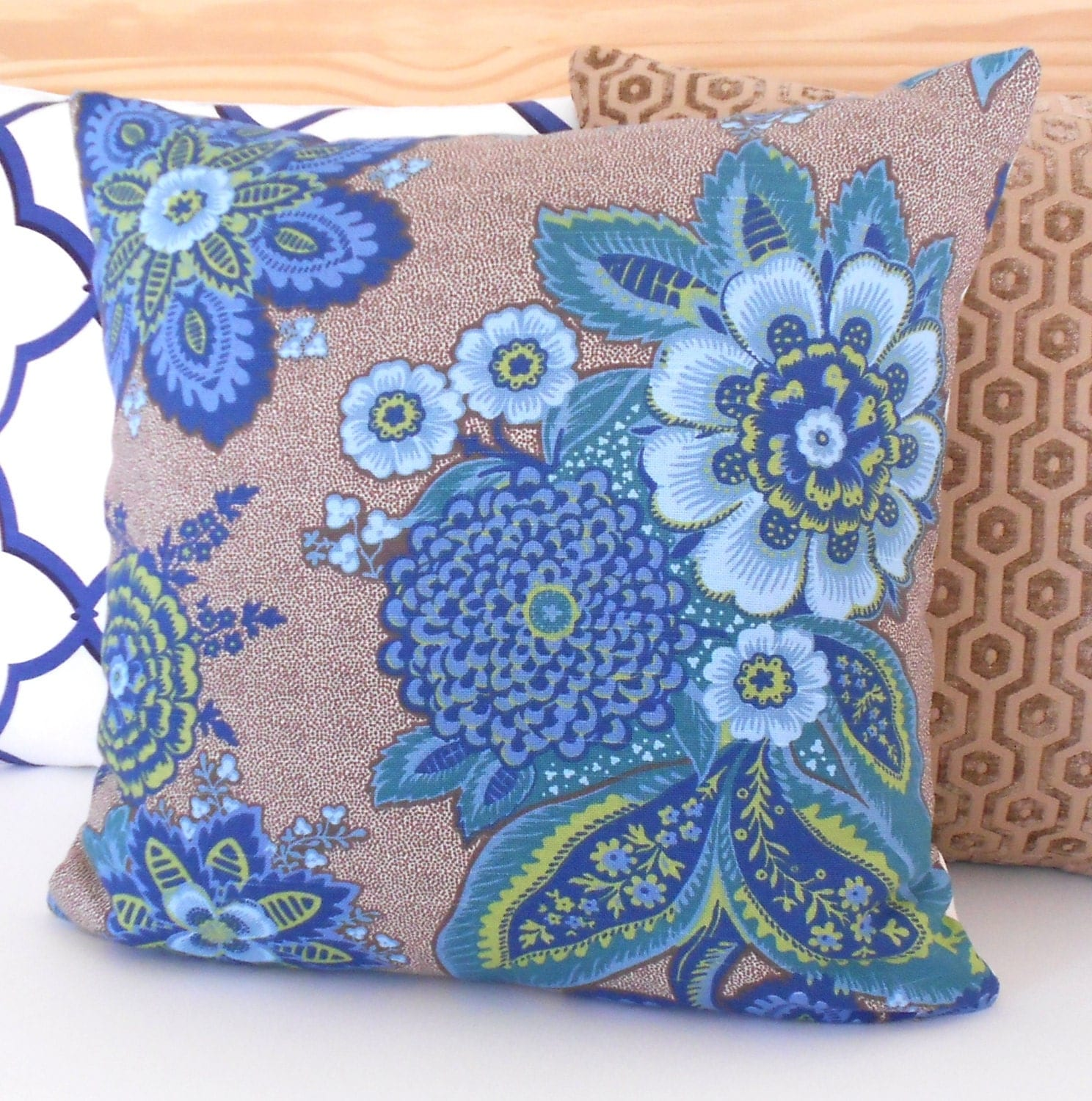 Blue Green And Brown Throw Pillows : Blue green and brown floral decorative pillow by pillowflightpdx