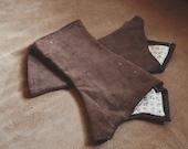 Brown Corduroy Animal Paw Print Fabric Fingerless Arm / Hand Warmers // Size Small