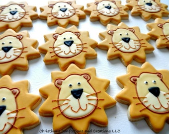 Lion Face Hand Decorated Sugar Cookies (#2395)