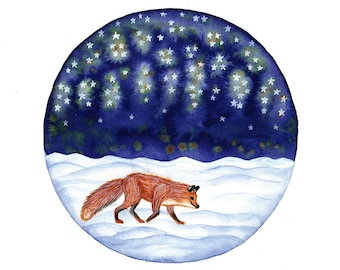 Original Watercolor painting Red fox  wandering in snow under the starry sky