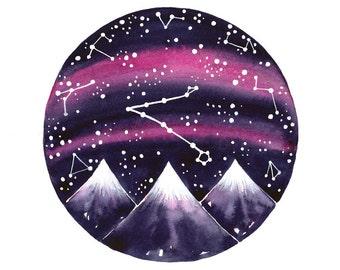Pisces constellation Original watercolor painting star chart art
