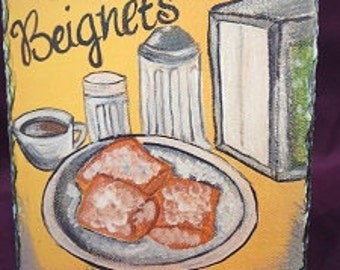 Original Art Beignets on Slate - New Orleans Beignet with Cafe au Lait - New Orleans Artwork - Slate Gift - New Orleans Gift - New Home Gift