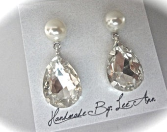 SwaPearl and Crystal rhinestone teardrop earrings - Bridal jewelry - Super sparkly - Maid of honor -Bridesmaids-Mother of the bride-Prom