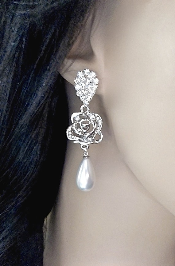 Rose rhinestone earrings ~ Pearl drop earrings ~ Luminous ~ Rose wedding earrings ~ Feminine ~ Brides earrings