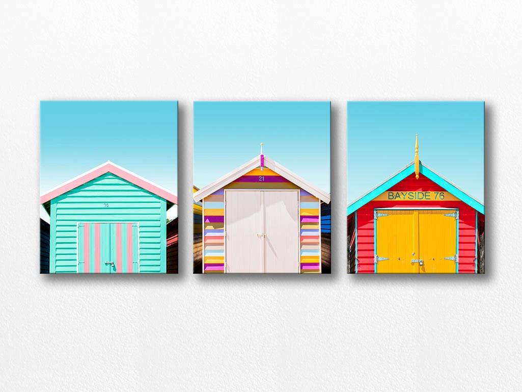 Beach house canvas wall art set beach photography canvas print for Beach house prints