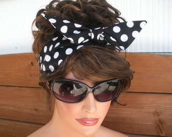 Womens Headband Dolly Bow Headband Retro Summer Fashion Accessories Women Headscarf in Black with White Polka dot - Choose color