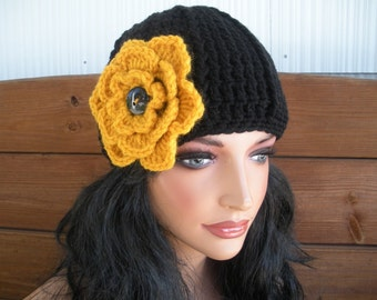 Womens Hat Crochet Hat Winter Fashion Accessories Women Beanie Hat Cloche Winter Hat in Black with Gold Crochet Flower