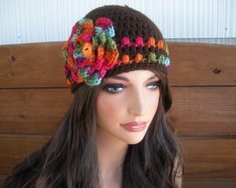 Women's Hat Crochet Hat Winter Fashion Accessories Women Beanie Hat Cloche Dark brown with Multicolor stripes and Flower