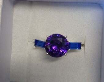 Purple and London Blue Swavorski Crystal Ring