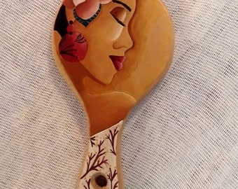Vanity mirror-Hand held mirror-Hand painted-Acrylics-Natural fir wood-A unique art gift for her.